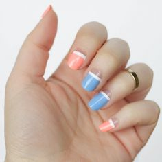 Creamsicle Orange and Pastel Purple Negative Space Nail Art | Manicure Tutorial | Spring on Living After Midnite by Jackie Giardina