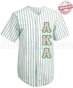 Alpha Kappa Alpha Cloth Pinstripe Baseball Jersey with Greek Letters. $67.99