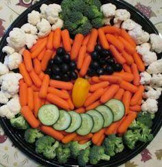 Jack-o'-lantern veggie platter