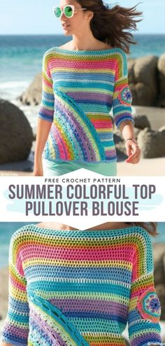 fashion wear Advertisements Hello trendy ladies, the time for crocheting Girly Tops has come, officially! With these lovely patterns, you will surely have a few more bright new handmade g Crochet Summer Dresses, Crochet Summer Tops, Summer Knitting, Crochet Tops, Crochet T Shirts, Crochet Blouse, Crochet Clothes, Crochet Sweaters, Crochet Woman