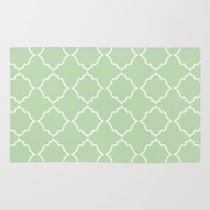 Moroccan in White on Mint Area & Throw Rug