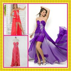 Wholesale Evening Dresses - Buy 2013 Multi Color Strapless Sweetheart Neck Beaded Chiffon Sheath Watermelon High Low Prom Dresses, $97.61   DHgate
