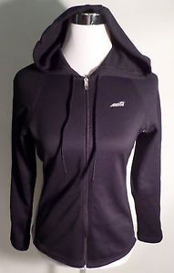 Womens Size S AVIA Black & Gray Athletic Hoodie, Polyester, Zip Front