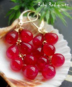 Red quartz earrings http://madebysam.ca/earring.html