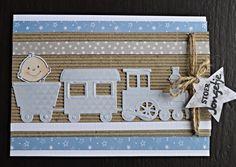 Ik kan er niets aan doen maar babykaarten blijf ik erg leuk vinden. Heb deze keer de trein van MD weer eens gebruikt. Samen met het rib...