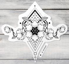 Geometrical flower tattoo design drawn by Saphiriart on Instagram http://instagram.com/saphiriart tags: flowertattoo black and white linework blackwork lineart inkwork ink drawing