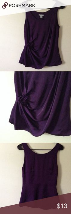 """Gorgeous draped dark purple dressy tank top Very nice dressy tank top with gorgeous draping on the front in a nice rich purple color, will fit up to 32"""" bust, length is 25"""" H&M Tops Tank Tops"""