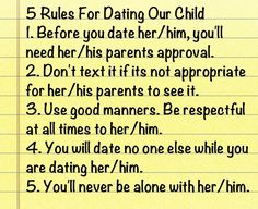 setting rules for teenage dating Teenage dating for girls it's great you are setting the ground work for a great relationship later on by dating rules for teenage.