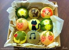 Cute Steamed cake Japanese Treats, Japanese Cake, Fancy Cakes, Cute Cakes, Kawaii Dessert, Steam Recipes, Natural Food Coloring, Steamed Cake, Cute Bento