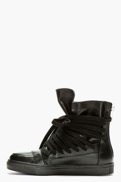 KRISVANASSCHE Black Leather Overlaced High-Top. Pretty nice...
