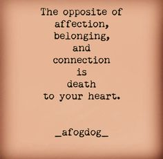 _afogdog_ The opposite of affection, belonging, and connection is death to your heart.
