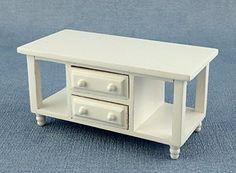 Puppenhaus Miniatur Wohnzimmer Möbel Modern Weiß Fernsehen TV Ständer