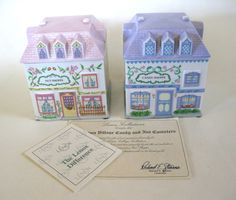 SOLD Candy And Nut Shoppe Canisters Porcelain Lenox Village Giftware New in Box Lenox Village, Spice Containers, Coffee Canister, Ebay S, Some Ideas, Canisters, Tea Pots, Spices, Porcelain