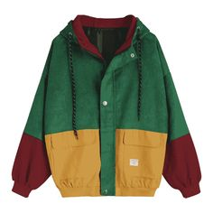 Hooded Color Block Corduroy Jacket (1.505 RUB) ❤ liked on Polyvore featuring outerwear, jackets, block jacket, green jacket, cordoroy jacket, colorblock jackets and hooded jacket
