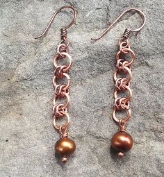 Chainmaille Copper Earrings with Freshwater pearl by Gemotica