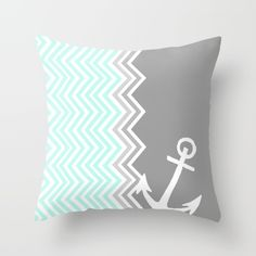 Nautical Chevron Throw Pillow by Sunkissed Laughter Anchor Bedroom, Nautical Bedroom, Bedroom Decor, Bedroom Ideas, Chevron Throw Pillows, Cute Pillows, Funny Pillows, My New Room, My Room