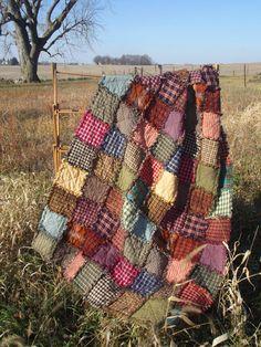 Sugarplum Rag Quilt Throw  Ready to Ship by TheLaughingBlackbird, $125.00