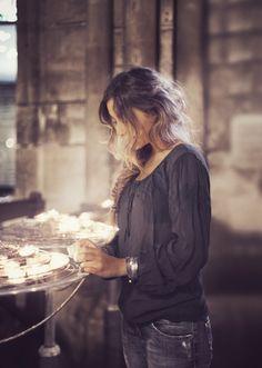 cotton crepe/ crinkle, log sleeve pheasant blouse, draw string neckline : Notre Dame candles -- Hannah Lemholt Photography©