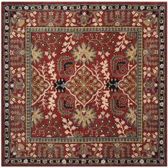 World Menagerie Genemuiden Hand-Tufted Red Area Rug Rug Size: Square 6'