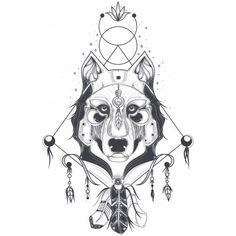 Illustrazione vettoriale di una vista frontale di una testa di lupo, schizzo geometrico di un tatuaggio Vettore gratuito
