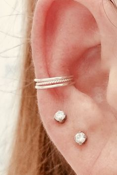 Thin 2 Smooth and 1 Twisted Conch Hoop Set of three- Faux Piercing - 925 Sterling Silver- Conch cuff Conch Hoop, Gold Filled Jewelry, Minimalist Earrings, Body Jewelry, Solid Gold, Diamond Earrings, Smooth, Sterling Silver, Piercings