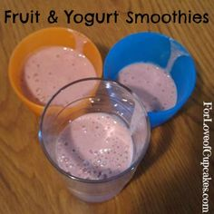 Homemade Fruit & Yogurt Smoothie | @4LoveofCupcakes | These are SOOO good!!  All you need is: a bag of mixed frozen fruit, a banana, vanilla greek yogurt, & a little bit of milk.  Oh and a blender.