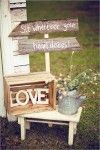 vintage barn wedding with wood boxes and LOVE letter wedding decor