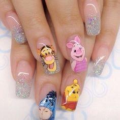 Cartoon nails - winnie the pooh nail art Disney Acrylic Nails, Simple Acrylic Nails, Best Acrylic Nails, Summer Acrylic Nails, Dope Nails, Fun Nails, Pretty Nails, Beautiful Nail Designs, Cool Nail Designs