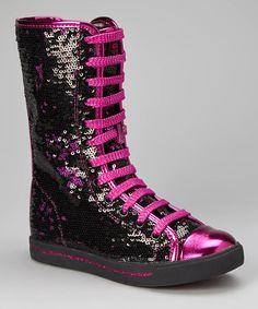 This Black & Hot Pink Galaxy Boot by Gotta Flurt is perfect! #zulilyfinds