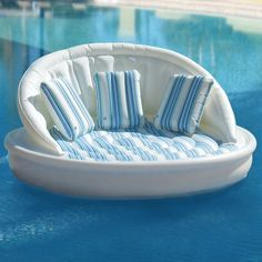 The inflatable waterbone sofa comfortably seats three people                                                                                    Perfect for the pool in the backyard of my dream home!