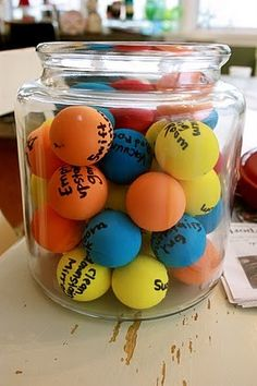 I think this is used for kid chores.but I think it would be even better as a reward tool.for good behavior or ect. Get children to list favorite activities on a ball, then they pull one out and get to have a fun activity! Classroom Organization, Classroom Management, Behavior Management, Organizing, Activities For Kids, Crafts For Kids, Diy Crafts, Therapy Activities, Therapy Ideas