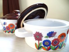 Vintage Onion Soup Bowls with Brown Lids Orange Red by ByElleBee