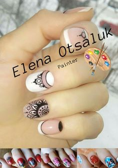 Mandala, nail art In sunny india, girls are very cool able to decorate themselves. Creating real masterpieces. Combining living and artificial beauty. I really like the ethnic style of  Indian drawings with the constant presence of the sun and the energy of life.