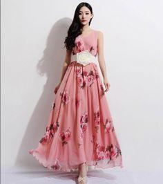 Bohemian Boho Pink Bloom Floral Chiffon Dress Aline by ChineseHut, $169.00