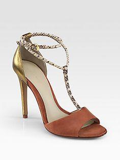Elie Tahari Odessa Snake-Print Leather T-Strap Sandals