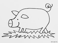Kleurplaat kleurplaten voor jonge kinderen / peuters / kleuters - varken piggy Pig Drawing, Pig Illustration, Dog Pattern, String Art, Stage, Cartoon, Drawings, School, Spring