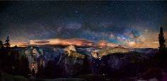 The Milky Way arching over Liberty Cap in California's Yosemite Valley.