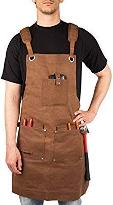 Tourbon Wax Canvas Work Shop Apron for Men//Women with Pockets Leather Strap