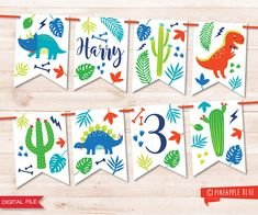 Boys dinosaur party bunting Jungle party bunting Dinosaur