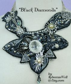 Black Diamonds- An exquisite hand bead embroidered Shibori Ribbon and Vintage jewelry necklace by RebeccasWell on etsy