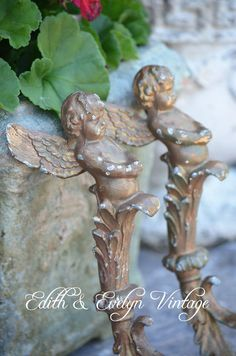 Antique Church Salvage Angel Garniture Spelter by edithandevelyn on Etsy