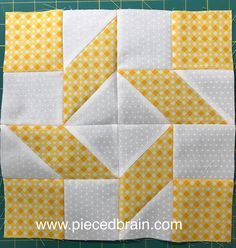 I love this quilt block - I did not have to pin anything and all the seams matched perfectly! Pieced Brain: Clementine Quilt Along
