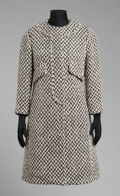 Woman's Coat - Bill Blass, Made for Maurice Rentner, Inc., 1963. Wool twill with supplementary warps and wefts