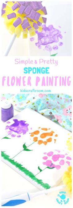 SPONGE FLOWER PAINTING - simple, easy and creates the prettiest flower art! These flower pictures are great for kids of all ages and a wonderful spring craft or summer craft. Make wall art, greeting cards or gorgeous Mother's Day gifts, these painted flowers will delight. #kidscraftroom #kidscrafts #kidsart #painting #flowers #preschoolcrafts #preschoolart B Spring Art Projects, Spring Crafts For Kids, Easy Crafts For Kids, Summer Crafts, Toddler Crafts, Projects For Kids, Diy For Kids, Flower Crafts, Flower Art