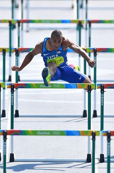 USA's Ashton Eaton competes in the Men's Decathlon 110m Hurdles during the…