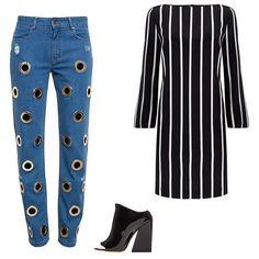 Filles A Papa Arsene boyfriend jeans with eyelet embellishment, $535; brownsfashion.com; Emilio Pucci vertical stripe silk dress, $1,540; harrods.com; Acne Studios Indi Office heel patent leather pump, $800; fwrd.com