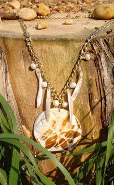 Golden Shell Flower Pendant Necklace by DescendingDoveDesign, $46.00