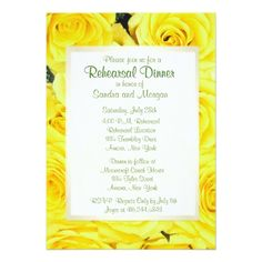 Rose Wedding Rehearsal Yellow Rose Wedding Rehearsal Dinner Card
