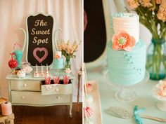 Aqua + Red Wedding Inspiration, Styled and designed by Sweet Spot. Cake from Candy Valley Cake Company.