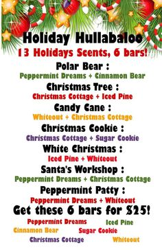 Scentsy recipe - winter scents - holiday hullabaloo - more for your money! https://teacherjen.scentsy.us/: